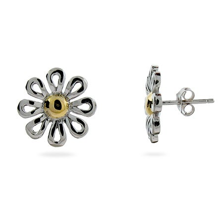 Designer Style Sterling Silver Daisy Stud Earrings | Eve's Addiction®