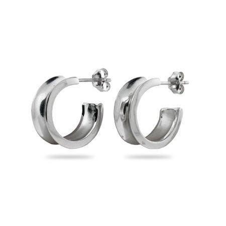 Designer Style 1837 Sterling Silver Hoop Earrings | Eve's Addiction®