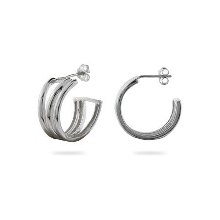 Tiffany Style Open Diagonal Hoop Earrings | Eve's Addiction