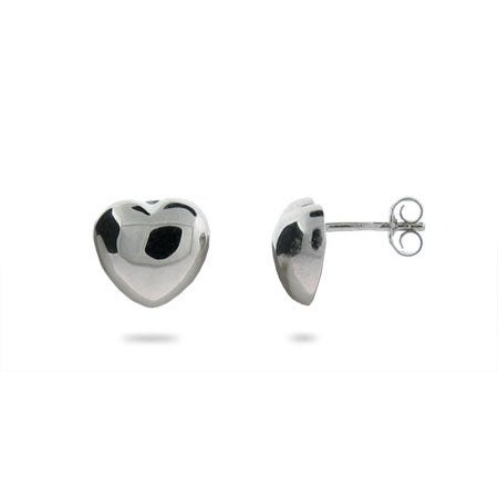 Sterling Silver Puffed Heart Stud Earrings | Eve's Addiction®