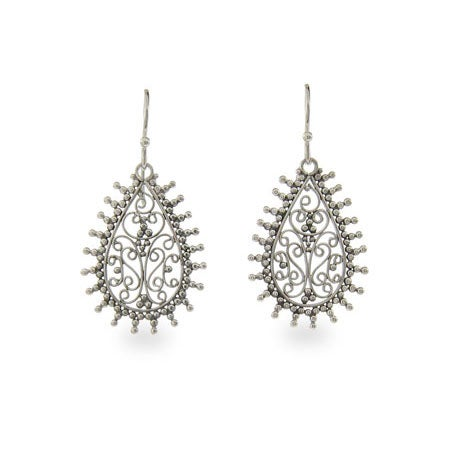 Filigree Teardrop Sterling Silver Bali Earrings | Eve's Addiction®