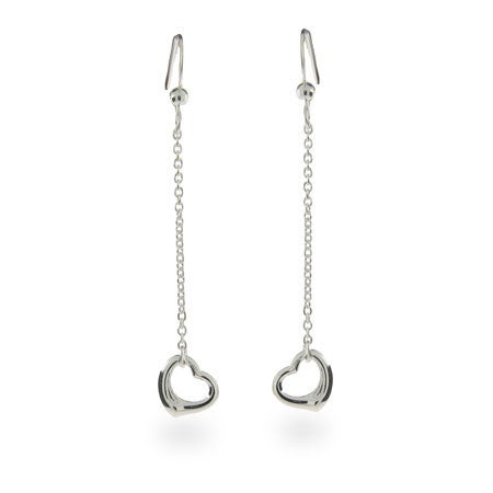 Sterling Silver Dangling Simple Hearts Earrings | Eve's Addiction®