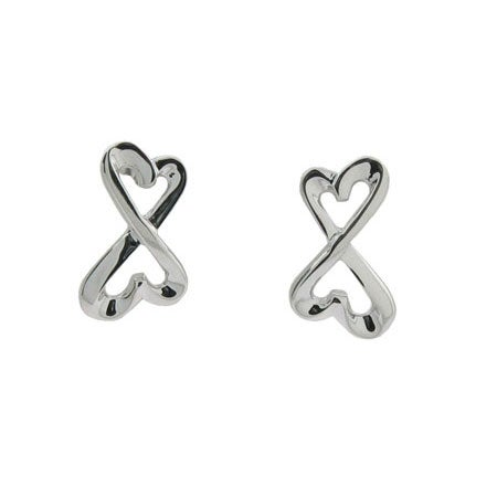 Sterling Silver Infinity Hearts Stud Earrings | Eve's Addiction®