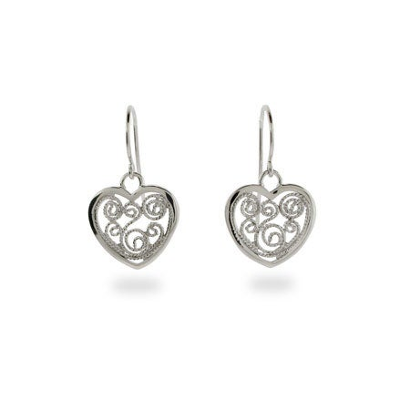 Vintage Filigree Heart Earrings in Sterling Silver | Eve's Addiction®