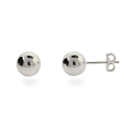 Designer Style 8mm Sterling Silver Bead Earrings | Eve's Addiction®