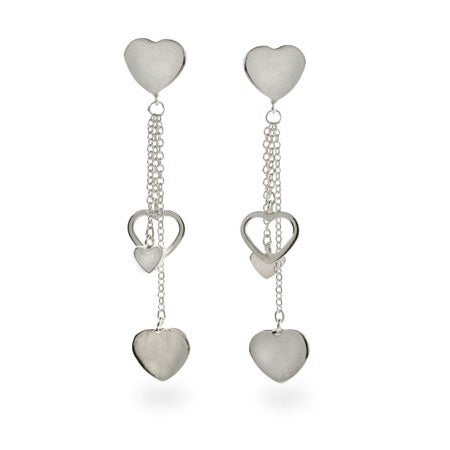 Designer Style Cascading Hearts Sterling Silver Earrings | Eve's Addiction®