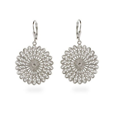 Silver Bali Filigree Fan Earrings