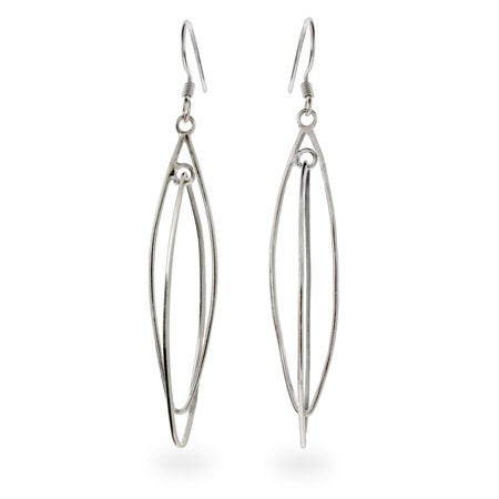 Plain Sterling Silver Double Almond Shape Earrings | Eve's Addiction®