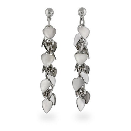 Sterling Silver Heart Cluster Dangle Earrings | Eve's Addiction®
