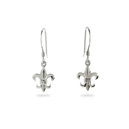 Petite Sterling Silver Fleur De Lis Earrings | Eve's Addiction®