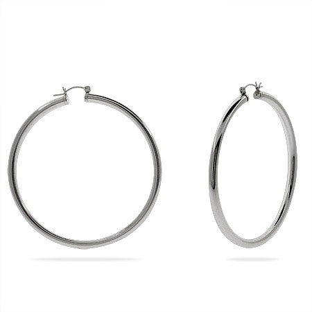 "2.5"" Sterling Silver Tube Hoop Earrings 