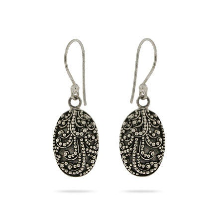 Sterling Silver Intricate Oval Drop Bali Earrings | Eve's Addiction®