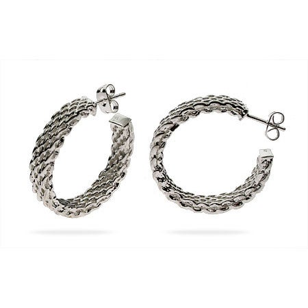 Designer Style Large Sterling Silver Mesh Hoop Earrings | Eve's Addiction®