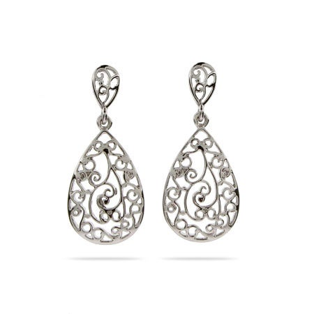 Sterling Silver Vintage Filigree Teardrop Earrings | Eve's Addiction®