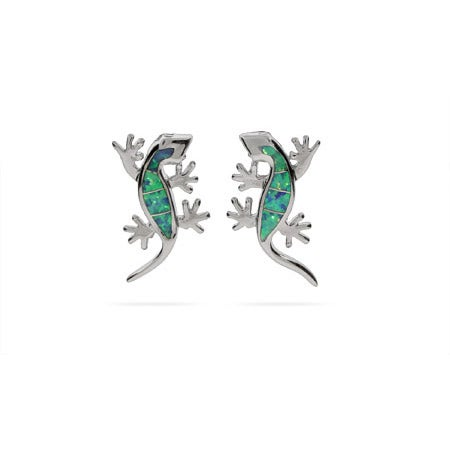 Opal and Sterling Silver Lizard Earrings | Eve's Addiction®