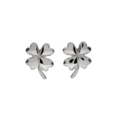 Good Luck Sterling Silver Four Leaf Clover Earrings | Eve's Addiction®
