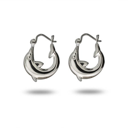 Sterling Silver Dolphin Hoop Earrings | Eve's Addiction®