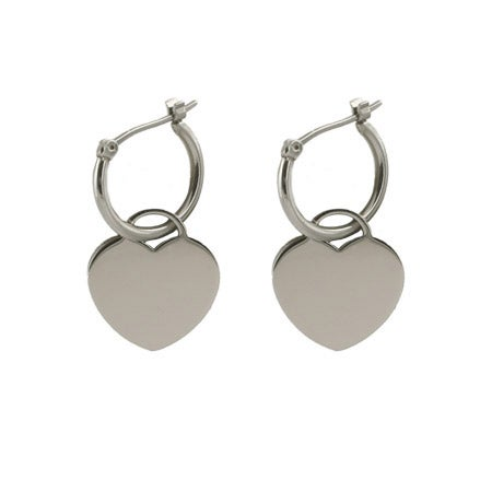 Designer Style Engravable Heart Tag Earrings | Eve's Addiction®