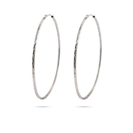 Diamond Cut Sterling Silver Continuous Hoop Earrings