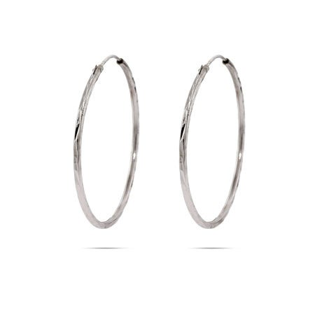 "1.5 "" Diamond Cut Sterling Silver Continuous Hoop Earrings 