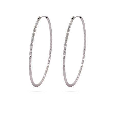 1.5 Inch Diamond Cut Hoop in Sterling Silver | Eve's Addiction®