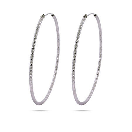 "2"" Sterling Silver Shimmering Diamond Cut Hoop Earrings 
