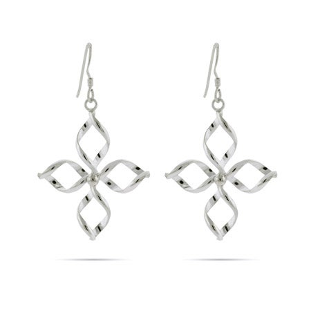 Twirling Flower Drop Sterling Silver Earrings | Eve's Addiction®