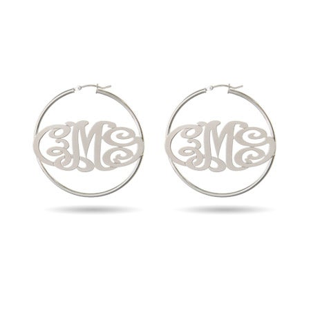 Monogram Hoop Earrings in Sterling Silver | Eve's Addiction