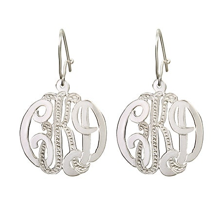 Diamond Cut Sterling Silver Monogram Earrings | Eve's Addiction