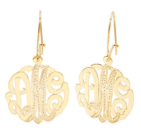 Gold Vermeil Diamond Cut Monogram Earrings | Eve's Addiction®