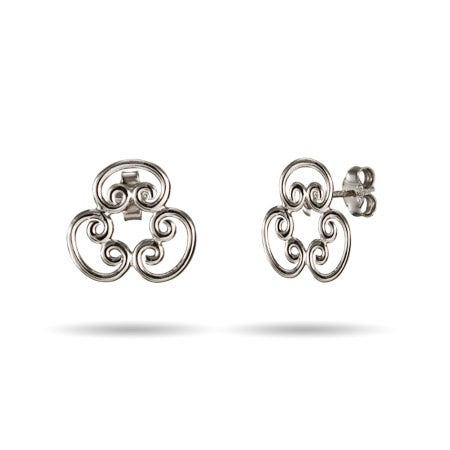 Designer Style Scroll Stud Earrings