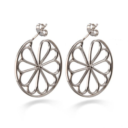 Designer Style Sterling Silver Flower Hoop Earrings | Eve's Addiction®
