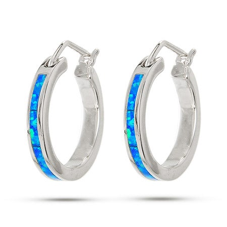 "Sterling Silver Opal .75"" Hoop Earrings 