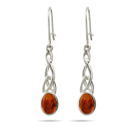 Baltic Amber Celtic Knot Leverback Earrings | Eve's Addiction®