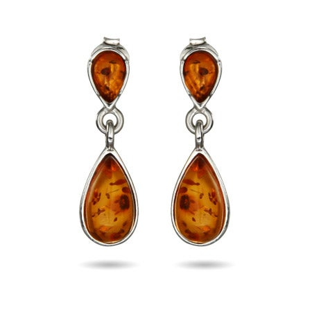 Genuine Baltic Amber Sterling Silver Peardrop Earrings | Eve's Addiction®