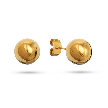 Designer Style 10mm 14K Gold Plated Bead Earrings | Eve's Addiction®