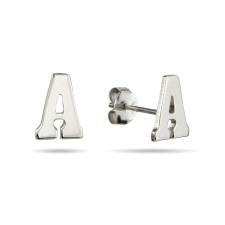Sterling Silver Initial Stud Earrings | Eve's Addiction®
