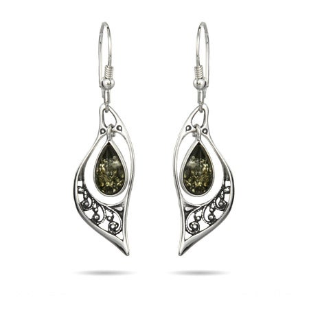 Genuine Green Baltic Amber Floral Marquise Silver Earrings | Eve's Addiction®