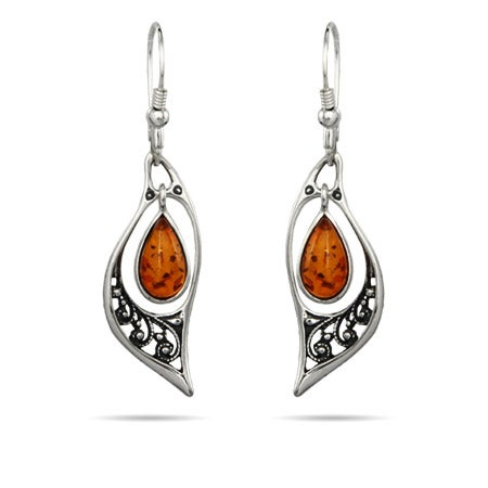Genuine Baltic Amber Floral Marquise Silver Earrings | Eve's Addiction®