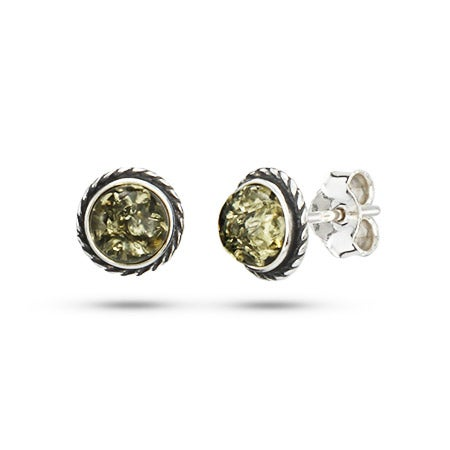 Sterling Silver Green Amber Earrings with Cable Border | Eve's Addiction®