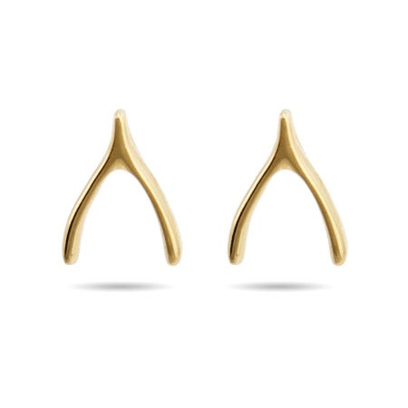 Gold Vermeil Wishbone Stud Earrings | Eve's Addiction®