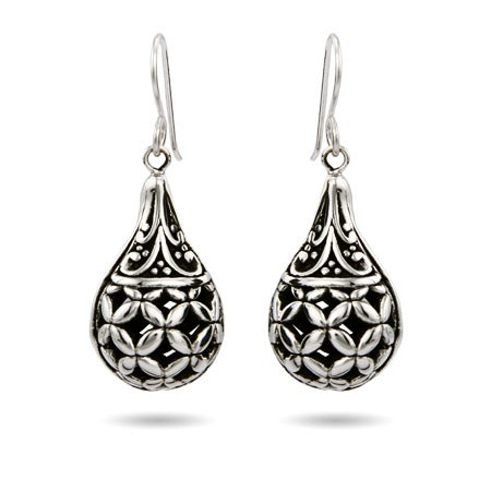 Sterling Silver Ornate Bali Teardrop Earrings | Eve's Addiction®