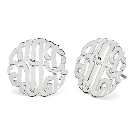 Sterling Silver Custom Monogram Stud Earrings | Eve's Addiction®
