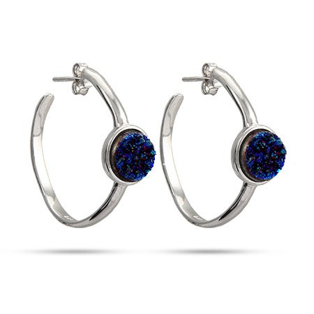 Sterling Silver Blue Drusy Hoop Earrings | Eve's Addiction®