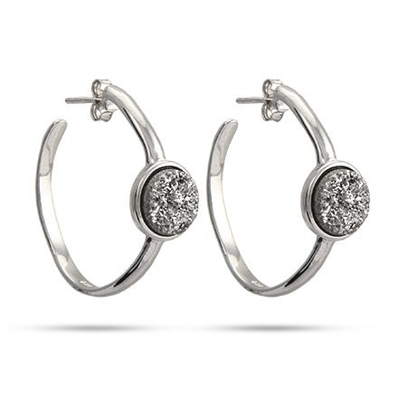 Sterling Silver Shimmering Dusk Drusy Hoop Earrings | Eve's Addiction®
