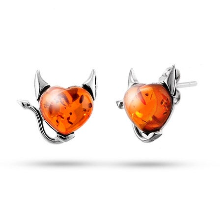 Sterling Silver Baltic Amber Devilish Heart Earrings