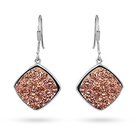 Cushion Cut Rose Drusy Dangle Earrings | Eve's Addiction®