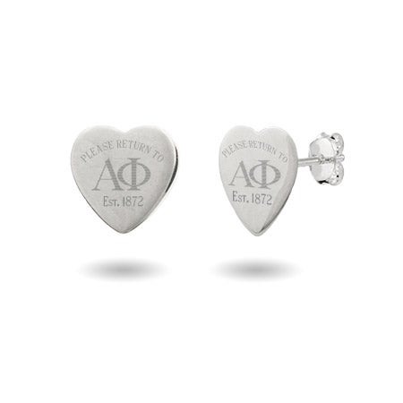 Return to Alpha Phi Sterling Silver Engraved Heart Earrings | Eve's Addiction®