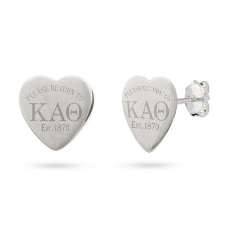 Return to Kappa Alpha Theta Sterling Silver Heart Earrings | Eve's Addiction®
