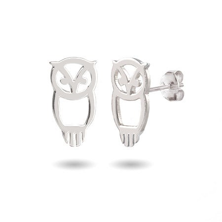 Chi Omega Sterling Silver Owl Stud Earrings | Eve's Addiction®